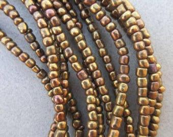Gold & Bronze Ghana Glass Beads - 6 Strands (4x3mm) [66422]