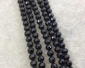 """6mm Glossy Finish Faceted Opaque Jet Black Chinese Crystal Round/Ball Shaped Beads - Sold by 15.75"""" Strands (Approx. 69 Beads) - (CC6-02)"""