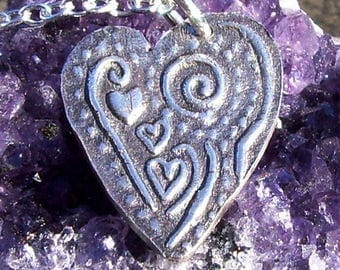 Textured Fine Silver Heart Pendant with Chain