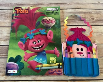Poppy Troll Trolls Crayon Holder & Coloring Book Gift Set