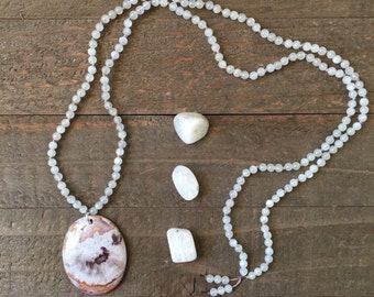 Moonstone and Lace Agate Pendant Hand Knotted Silk Thread Necklace