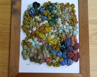 French knot embroidery, 3D Modern hand embroidery, hand dyed fabrics, nature inspired textile art, statement wall piece