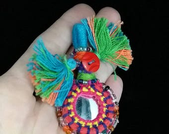 5 Petite Colorful Indian Tassels Shisha Mirrors ATS Tribal Fusion Belly Dance