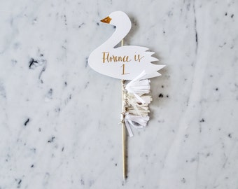 Swan Cake Topper / Rose Gold Modern Calligraphy / Custom Hand Lettered / White Neutral Beige Blush / Mini Tassels / First Birthday Pastels /
