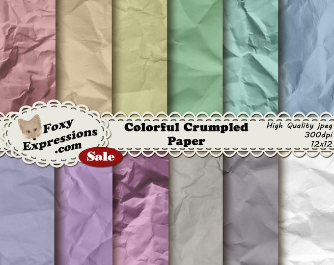 Colorful Crumpled digital paper pack comes in an assortment of beautiful colors. Add a natural touch to any project without losing color.
