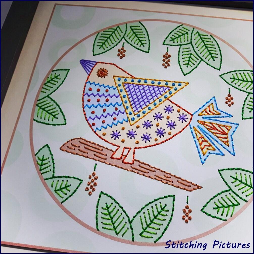 Pdf bird on branch modern stitching card paper pricking