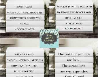 WHOEVER SAID MONEY Can't Buy Happiness,  Coco Chanel Quote, Chanel Quote Book Set, The Best Things in Life, Chanel Quote Books, Decorative