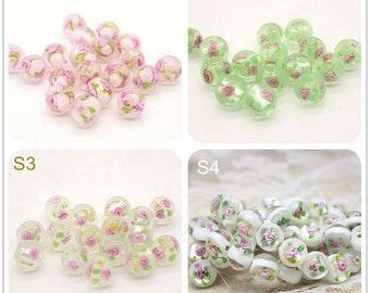 Lamp work 12mm Rose Flower Glaze Bead Glass Beads Lucky Bead Design Charm Bracelet Handmade Beads DIY bracelets Bead Supply