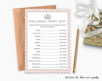 Pink Silver Royal Baby Shower Game , Princess Baby Shower Game , Who Knows Mommy Best , Mommy Quiz Baby Shower Printable , Instant Download
