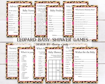 LEOPARD BABY SHOWER ,  Baby Shower Games Package , Leopard Print , Animal Baby Shower, Girl Baby Shower , Animal Print , Instant Download