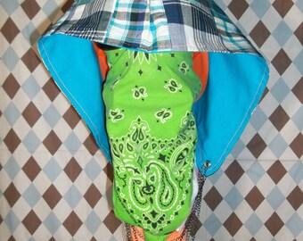 Reversible Canvas/Patchwork Festival Hood w/ Stash Pocket