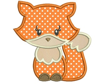 Baby Fox Applique Machine Embroidery Design, Cute Fox, Sweet Fox Embroidery Design, 4X4, 5X7, 6X10, INSTANT DOWNLOAD, no: SA554-4