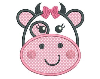 Baby Cow Face Applique Machine Embroidery Design, Farm Animal Applique Machine Embroidery, 4X4, 5X7, 6X10, INSTANT DOWNLOAD, No: SA563-1