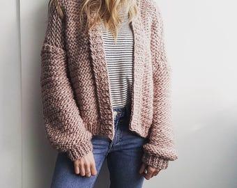 Cardigan knitting pattern.  Bomber Cardi PDF pattern. Instant Download.  Chunky Jumper Sweater Wrap.