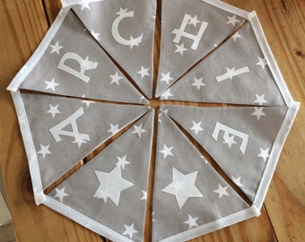 Personalised Grey Star Bunting Bedroom/Playroom/Party/Banner