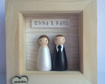 Personalised peg couple wedding frame