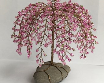 Weeping Cherry Tree Sculpture Beaded Decoration Unique gift Glass beads Pink Custom made