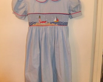 Blue dress smocked with sail boat & lighthouse