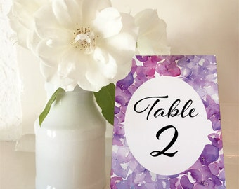 Purple Hydrangea - Table Numbers 1 to 30 - A5 - DIY Wedding & Printable