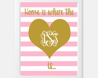 Editable Monogram Pink and White Stripe with Gold Heart -  Printable Wall Art - INSTANT DOWNLOAD
