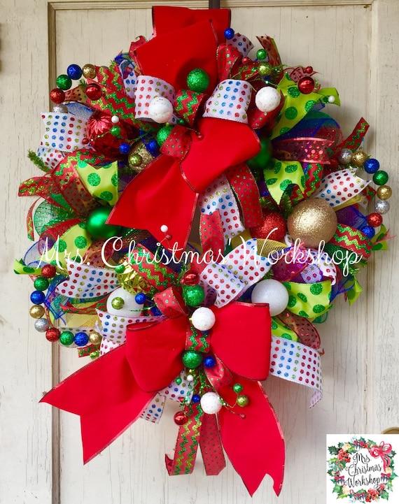 Christmas wreath colorful deco mesh