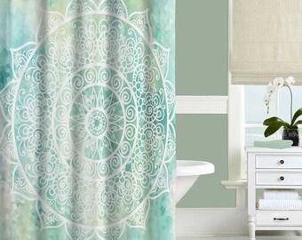 Mandala Shower Curtain Mint Green and Gold Bohemian Shower