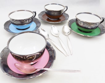 Dekor Feinsilber Demitasse Cups and Saucers, Rudolf Wachter, Set of 4 Distressed Cups and 4 Saucers, Spoons Not Included