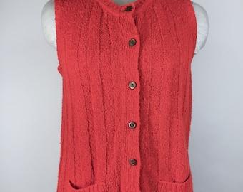 Vintage Sweater Vest Red Sweater Vest Red Button Down Sweater Vest Boucle Knit Sweater Vest 1960s Sweater Valentines Day