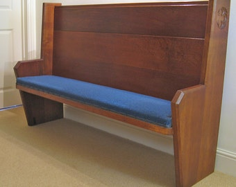 Late 19th Century Oak Arts & Crafts Church Pew w. Upholstered Seat