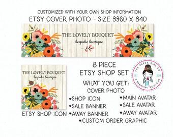 floral etsy set etsy banner set etsy shop set branding for etsy shop icon shop banner etsy shop branding premade shop set boutique shop set