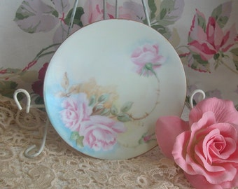Darling Bavaria Hand Painted Roses Porcelain Plate, Cottage, Shabby Chic