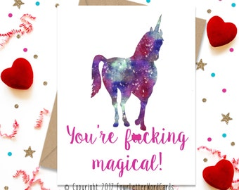 Mature Funny Greeting Card, Valentines Day Card, Valentines Day Gift, Unicorn Card, Funny Birthday Card, Funny Card, Love Card, Card for Her