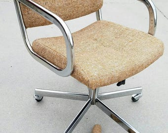 Mid Century Modern Office Chair, Vintage Chair, Vintage Chrome Office Chair,  Tweed Swivel