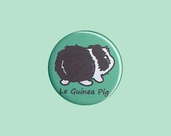 Cute Guinea Pig Badge 'Le Guinea Pig' (BLACK DUTCH) - guinea pig button, cavy button, guinea pig accessory, kawaii badges