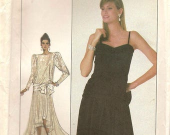 Vintage Simplicity Sewing Pattern 8352 Drop Waist Evening Dress Size 6–10