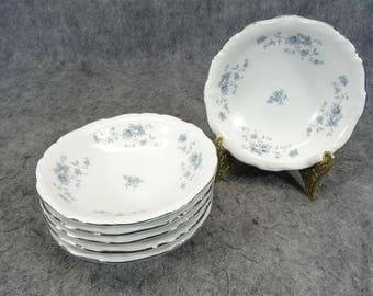"""Haviland Set Of 6 Fruit/Dessert Plates In """"Blue Garland Design Pattern"""
