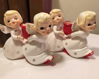 Vintage angel candle holders - mid century Japan ceramic candleholder pair - vintage angel twins candleholders - kitschy angel candleholders