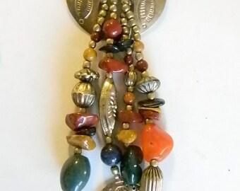 Boho Gypsy Gold Tone Glass Rock Beaded Pin Brooch