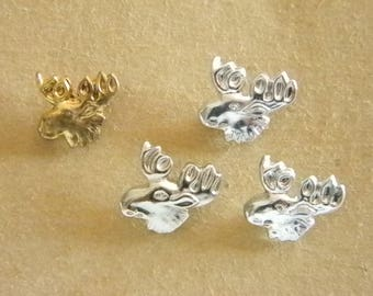 Silver Gold Tone Moose Tie Tack Lapel Pin