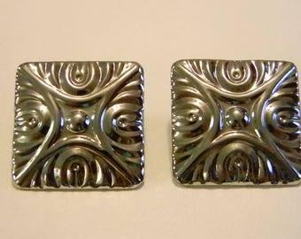 Silver Tone Square Clip Earrings
