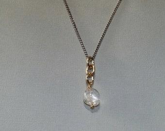 Crystal Quartz Pendant, Quartz Necklace, Healing Crystal Necklace, Mixed Metal Necklace, Link Necklace, Silver & Gold Link Necklace