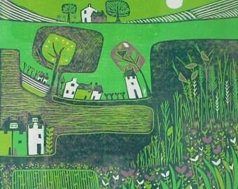 Limited Edition Green Landscape Art in Linocut print, Green Art Prints, Original Linocut print, Gallery Wall Decor, Wall Art prints, Laylart