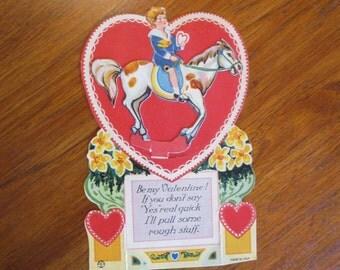 Louis Katz 1924 Vintage valentine with boy on horse. Mechanical Louis Katz NY 1924 card.  Moveable boy riding horses.