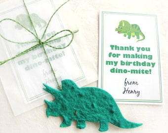 12 Plantable Dinosaur Birthday Party Favors - Flower Seed Paper Dinosaur Birthday Party Cards - Dinomite