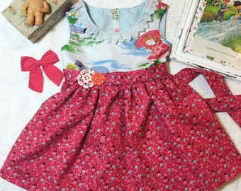 Vintage pinafore dress made from 1950's pattern, storybook motif