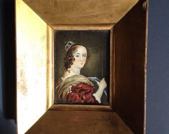 Antique Miniature Portrait of Queen Henrietta Maria of France