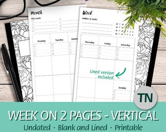 TN Regular - Undated Week on Two Pages Vertical Layout, Habits & Tasks Tracker, Lined - Printable Planner Insert Traveler's Notebook, PDF