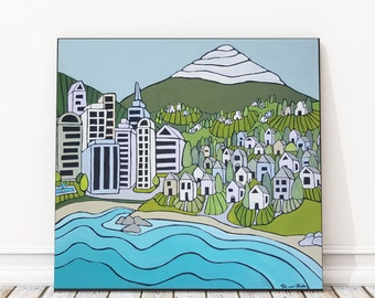 Urban Village. Original Acrylic painting on 18 x 18 inch wood panel. Ready to hang. No frame required. Original painting by Shanni Welsh.