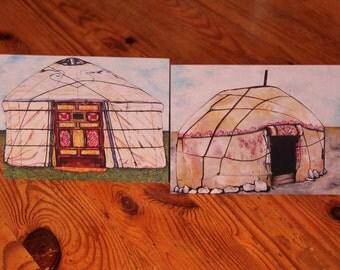 Twin pack A6 notecards -Mongolian Yurt/Ger