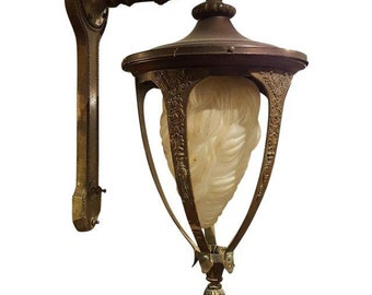 Antique Art Deco Bronze Lantern, Antique Pendant, Bronze Lighting Fixture, Art Deco Chandelier